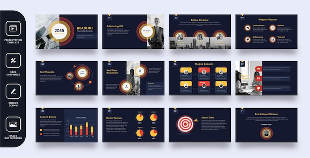 Modelo de apresentação de slides empresarial moderno Vetor Premium