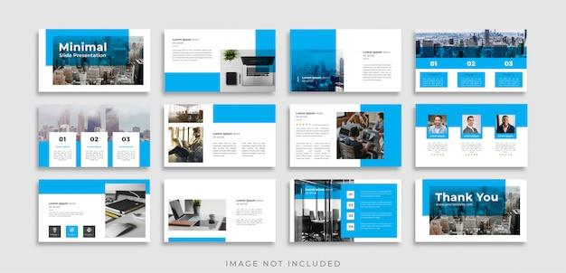 Modelo de apresentação de slides mínimos azuis