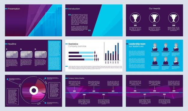 Modelo de apresentação de slides. páginas de revistas de negócios ou projetos de relatórios anuais com formas abstratas coloridas e vetor de texto