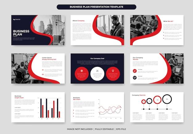 Modelo de apresentação do plano de negócios em powerpoint e slide de apresentação corporativa ou relatório anual