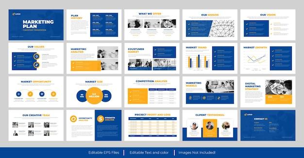 Modelo de apresentação do powerpoint do plano de marketing