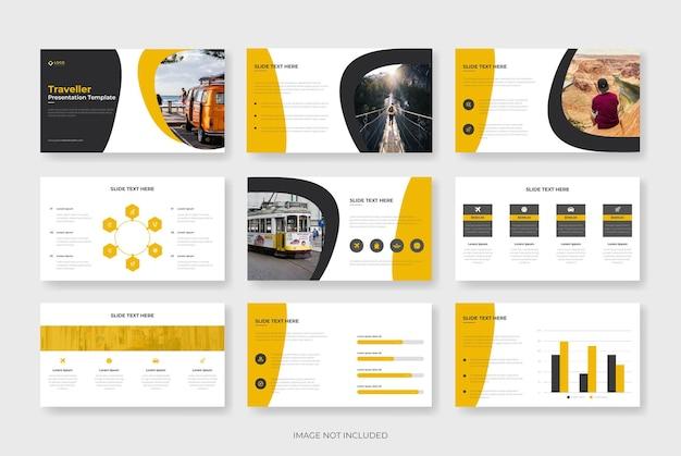 Modelo de apresentação em powerpoint de viagens ou modelo de perfil de agência de viagens