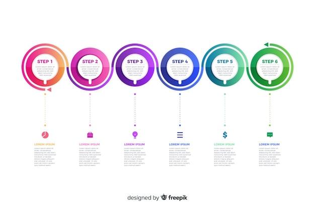 Modelo de apresentação gradiente de etapas infográfico