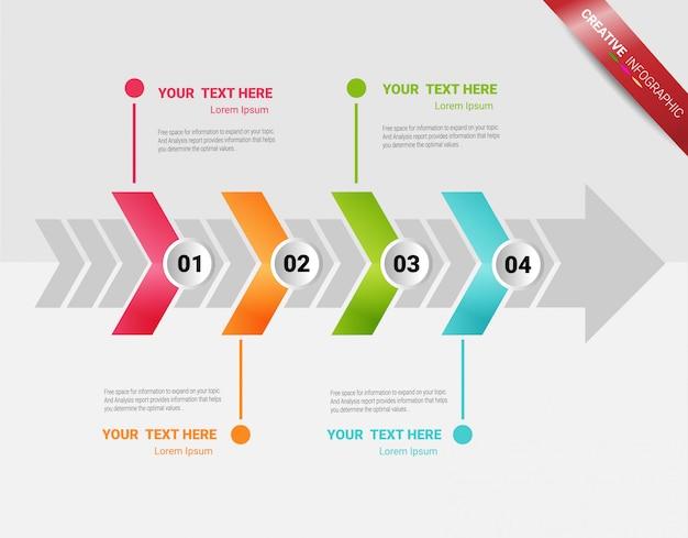 Modelo de apresentação infográfico com 4 opções