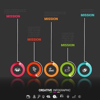 Modelo de apresentação infográfico com 5 opções