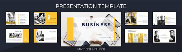 Modelo de apresentação para proposta de negócio, com fundo de design limpo.