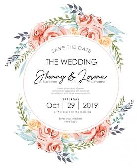 Modelo de aquarela de quadro de cartão de convite de casamento floral