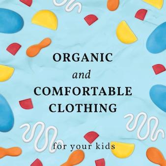 Modelo de argila de roupas infantis de vetor com padrão bonito anúncio de mídia social