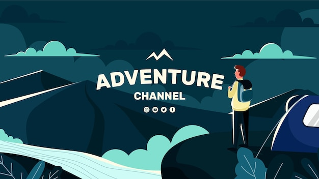 Modelo de arte do canal do youtube de aventura plana
