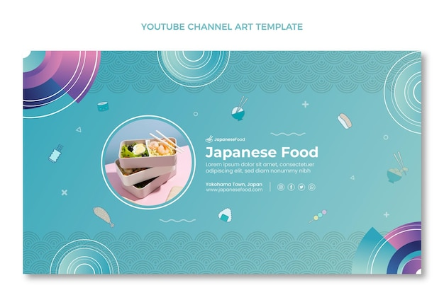 Modelo de arte do canal do youtube de comida desenhada à mão