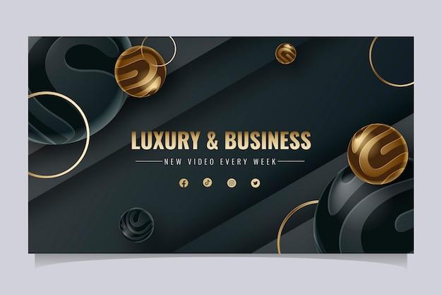Modelo de arte do canal do youtube de luxo dourado gradiente