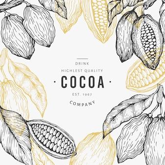 Modelo de árvore de cacau. fundo de grãos de cacau de chocolate. mão ilustrações desenhadas. ilustração do estilo vintage.