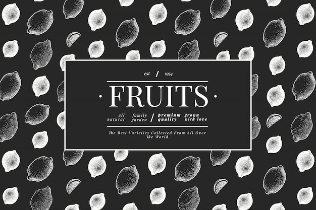 Modelo de árvore de limão. mão-extraídas ilustração de frutas no quadro de giz. estilo gravado. cítrico vintage.