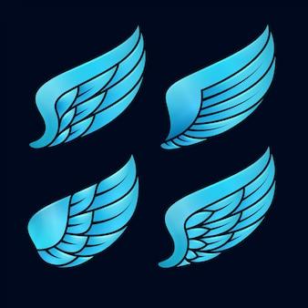 Modelo de asas azuis