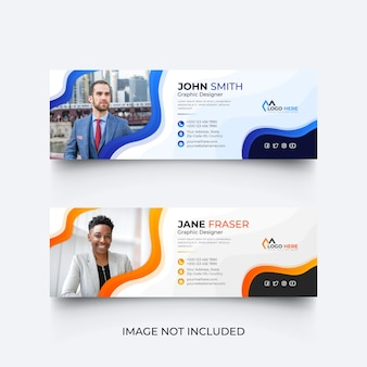 Modelo de assinatura de e-mail moderno ou modelo de rodapé de e-mail e conjunto de design de capa de mídia social