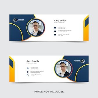 Modelo de assinatura de e-mail ou rodapé de e-mail e design de capa de mídia social pessoal