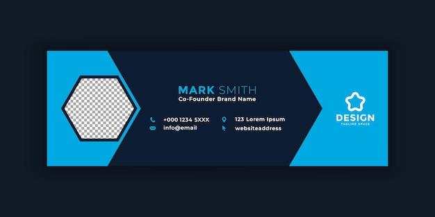 Modelo de assinatura de e-mail pessoal ou rodapé de e-mail e design de capa de mídia social