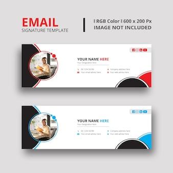 Modelo de assinatura de e-mail preto e azul