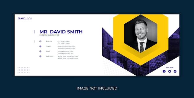 Modelo de assinatura de email design da capa do facebook