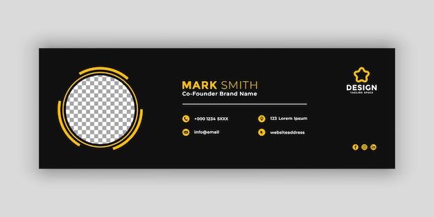Modelo de assinatura de email escuro ou rodapé de email e design de capa de mídia social pessoal
