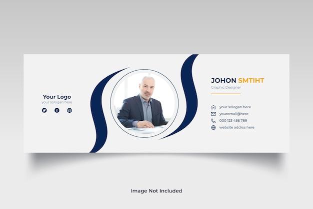 Modelo de assinatura de email o design de capa de mídia social pessoal