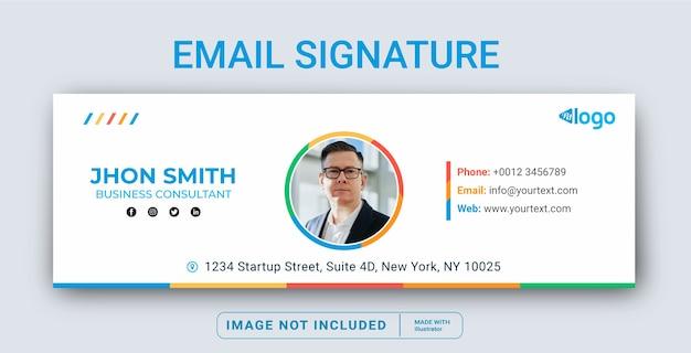 Modelo de assinatura de email ou rodapé de email e capa de mídia social pessoal