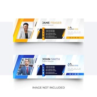 Modelo de assinatura de email ou rodapé de email e conjunto de design de modelo de capa de mídia social
