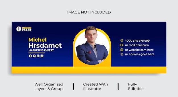 Modelo de assinatura de email ou rodapé de email e vetor de design corporativo de capa pessoal