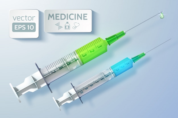 Modelo de atendimento médico com seringas antes da injeção em estilo realista com ilustração isolada de luz
