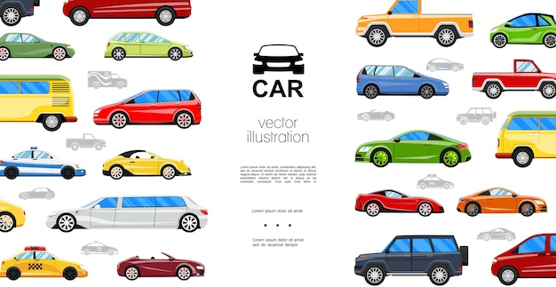 Modelo de automóveis planos coloridos