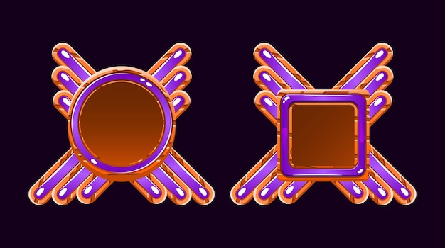 Modelo de avatar de borda de moldura de gui de madeira e geléia para elementos de ativos de interface do usuário do jogo