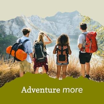Modelo de aventura ao ar livre para postagem em mídia social