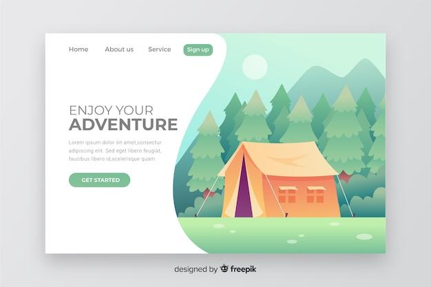 Modelo de aventura da página de destino