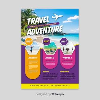 Modelo de aventura de viagem com foto