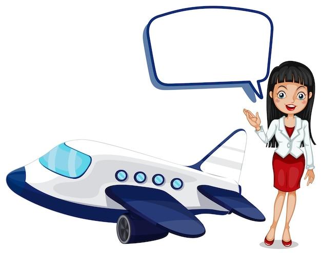 Modelo de balão de fala com garota e avião