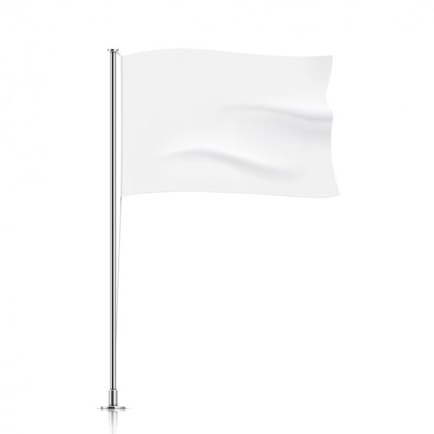 Modelo de bandeira branca. limpe a bandeira de ondulação horizontal, isolada no fundo.