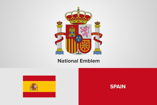 Modelo de bandeira do emblema nacional da espanha