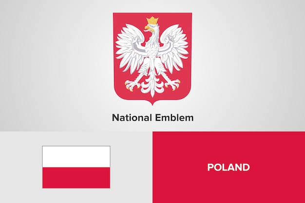 Modelo de bandeira do emblema nacional da polônia