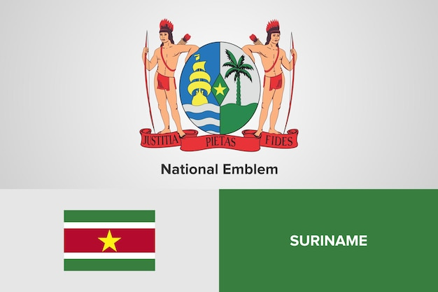 Modelo de bandeira do emblema nacional do suriname
