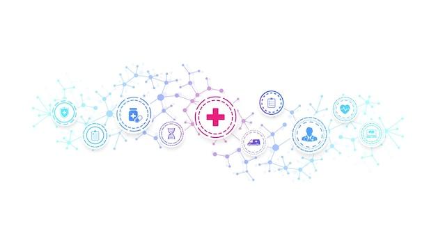 Modelo de banner abstrato de cuidados de saúde com ícones lisos. conceito de medicina de saúde. fundo de inovação médica, bandeira farmacêutica. fluxo de ondas. ilustração vetorial.