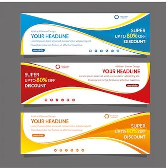 Modelo de banner abstrato web especial super promoção desconto oferta venda