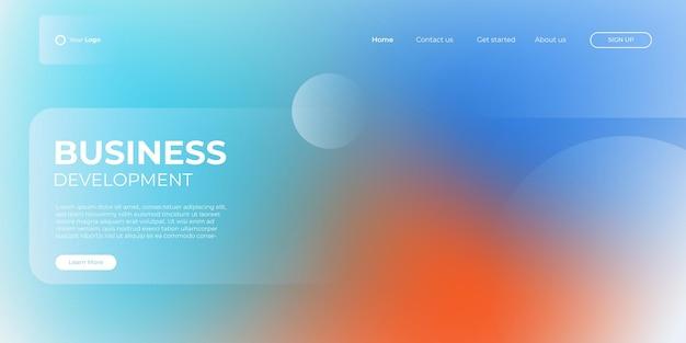 Modelo de banner azul claro e laranja da página de destino. ilustração abstrata do fundo 3d, conceito de interface de tecnologia de negócios. projeto de layout do vetor.