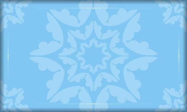 Modelo de banner azul com enfeites gregos brancos e lugar para o seu texto
