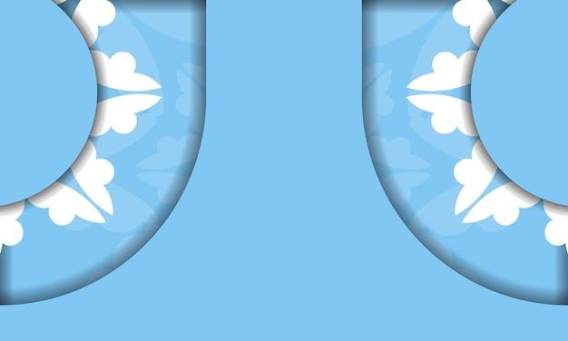 Modelo de banner azul com luxuosa ornamentação branca e espaço para seu texto