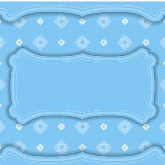 Modelo de banner azul com padrão de mandala branca e lugar para seu logotipo