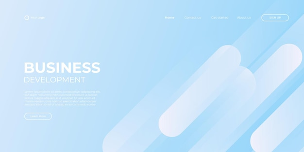 Modelo de banner azul e branco da página inicial. ilustração abstrata do fundo 3d, conceito de interface de tecnologia de negócios. projeto de layout do vetor.