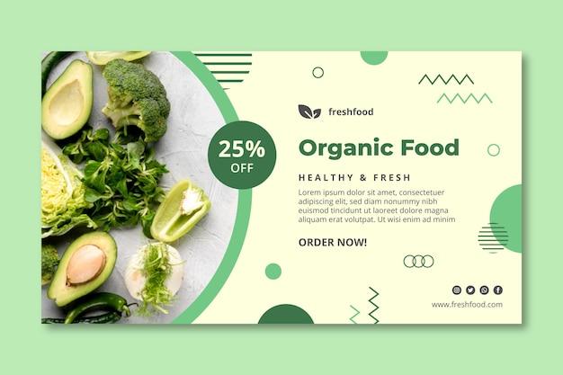 Modelo de banner bio e comida saudável