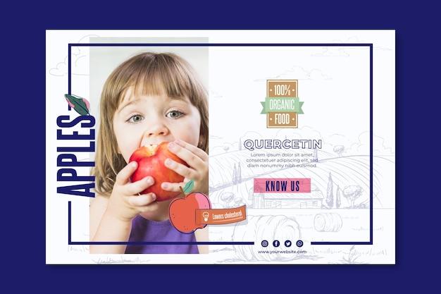 Modelo de banner bio e maçãs saudáveis