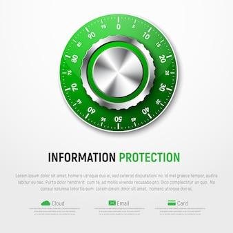 Modelo de banner branco com fechadura de combinação mecânica verde. proteção de informações pessoais, mapas, nuvens, e-mail.