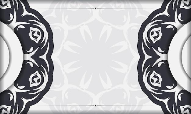Modelo de banner branco com ornamentos abstratos e lugar para o seu projeto. design de cartão de convite com padrões de mandala.